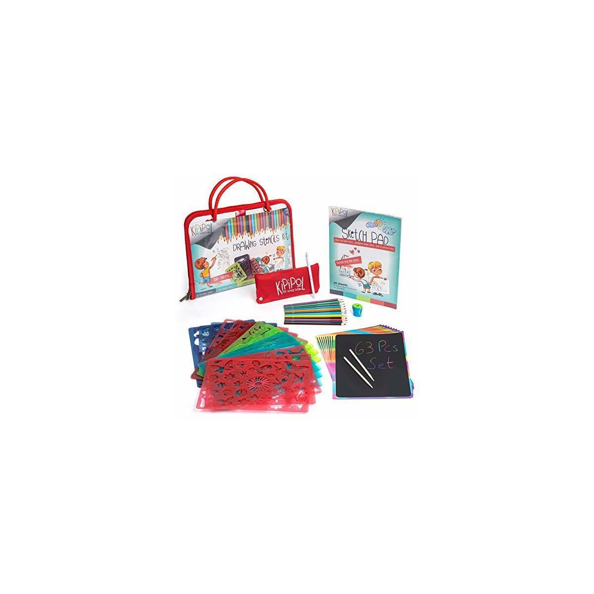 amazing  drawing kit for kids with 15 stenciles, scartch art, penciles and more. great set in the best price