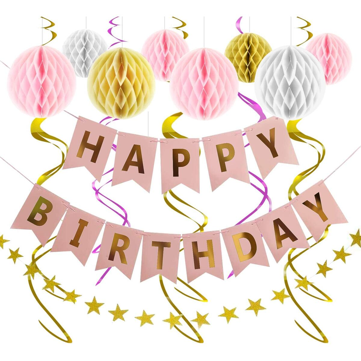 Happy Birthday Banner Party Decorations - Rose Gold Decor Supplies Kit for Girls Boys - Bday Banner Garland Swirls Pom Poms Honeycomb Set