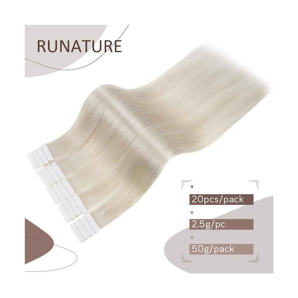 RUNATURE Tape in Hair Extensions 16inches Color 800 White Blonde 50g (2.5g Per Piece, 20 Pieces) Seamless Real Human Hair for Gift
