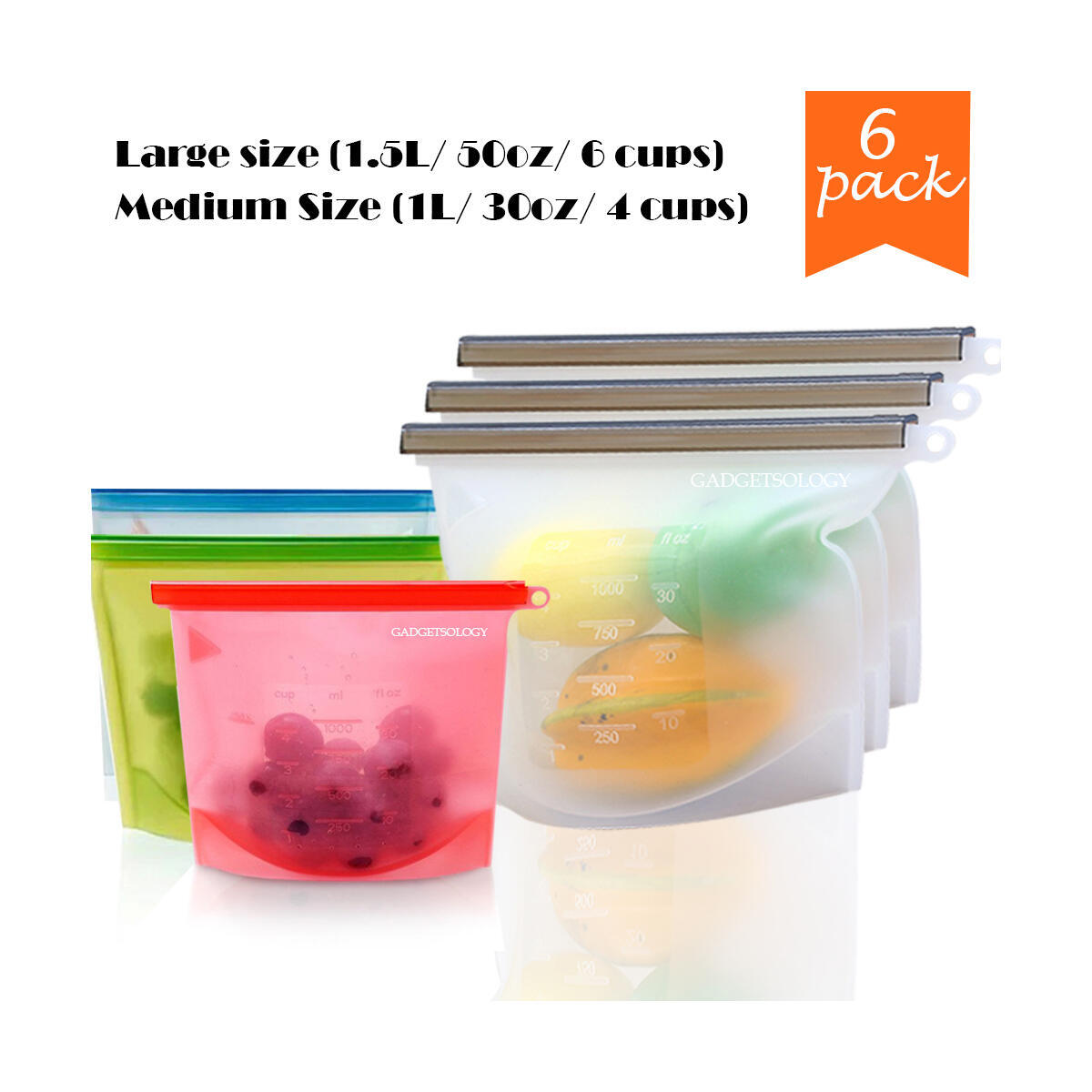 6 x Medium Reusable Silicone Food Bags Eco-Friendly Meal Container, Airtight, Leakproof, Ziplock Seal for Hot or Cold Food Storage Washable