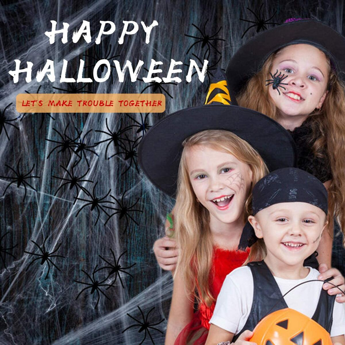 Halloween Spider Web Decoration, 8'x8'sqft White Small Spider Web Streachable 5 pcs in Total; Extra 60 Fake Spider,Halloween Indoor and Outdoor Decor…