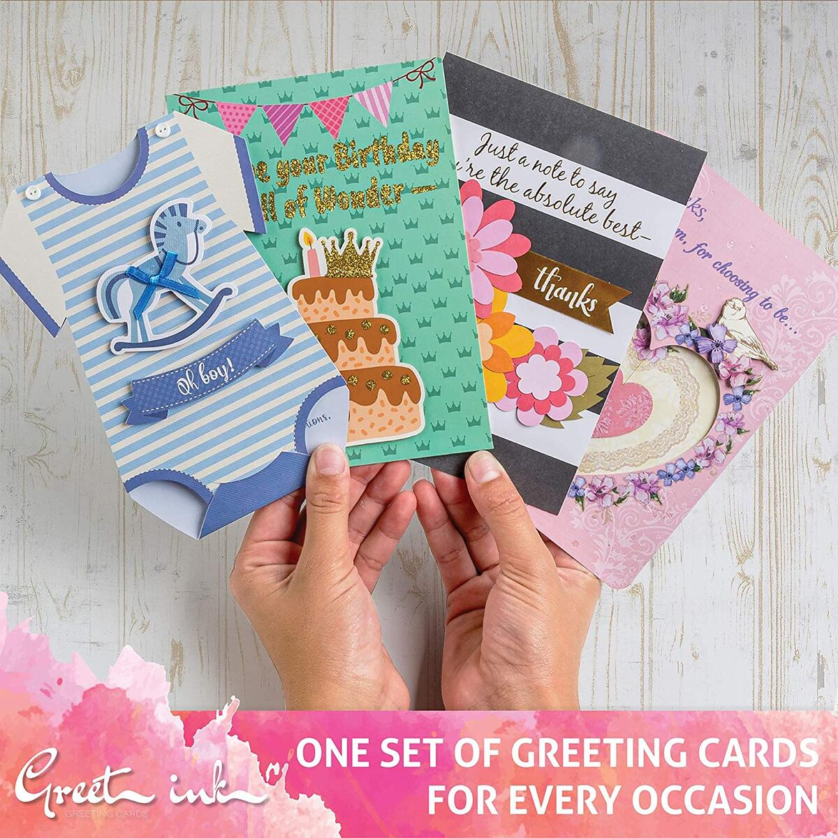 GreetInk Handmade All Occasion Greeting Cards - 22 Pack - Boxed Assorted cards with Envelopes For Birthday, Thank You, Wedding, Thinking Of You, Mother's Day, Condolence, Congratulations, Blank and Baby Shower cards