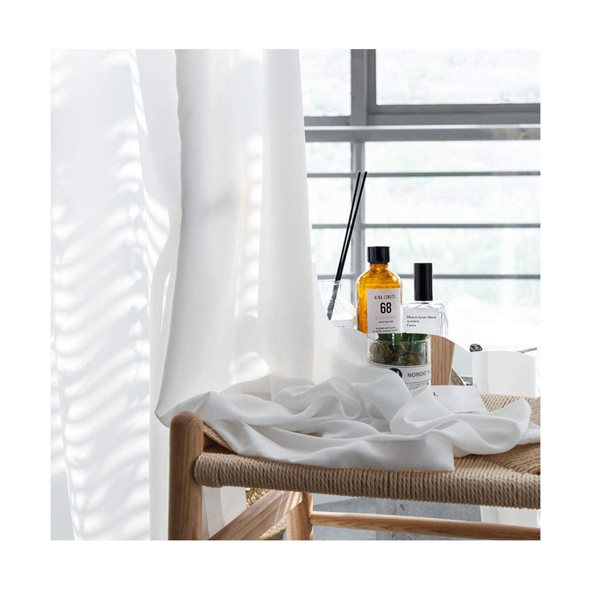 Kawcono White Semi Sheer Curtains 96