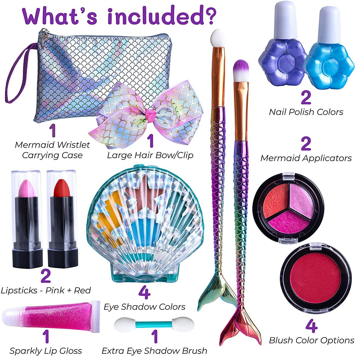 Purple Ladybug Mermaid Makeup Kit for Girls! Safe and Washable Mermaid Themed Makeup Set for Little Girls with a Handy Wristlet, Lipstick, Blush, Eye Shadow, & More! Great Gift Idea for Kids & Teens!