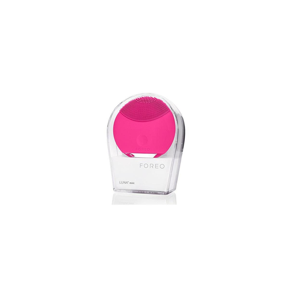 FOREO LUNA mini Silicone Face Brush with Facial Cleansing for All Skin Types (Magenta).