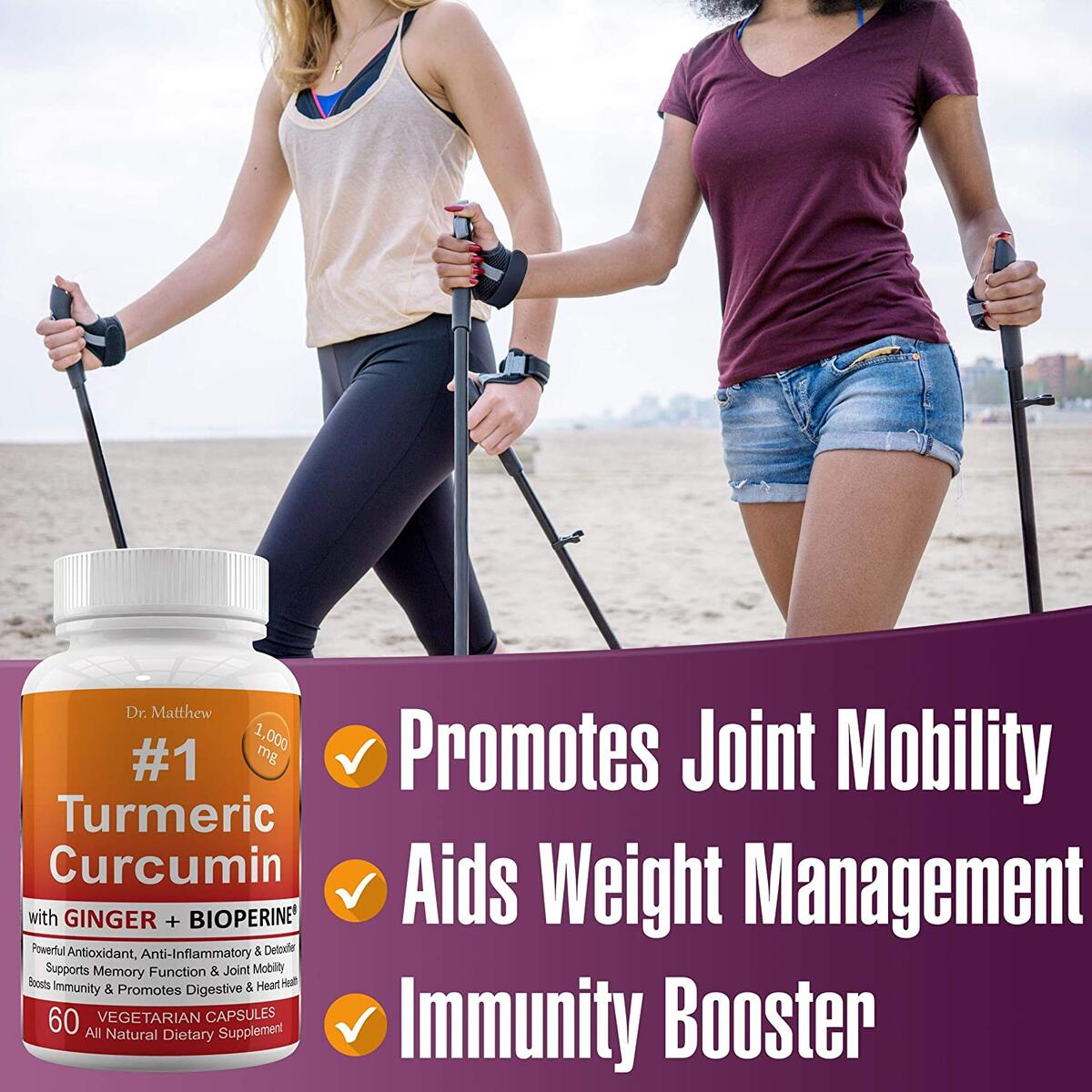 Best Turmeric Curcumin with BioPerine Black Pepper and Ginger. 15X High Potency with 95% Curcuminoids. Anti-inflammatory, Joint Support, Anti Aging, Antioxidant Powder