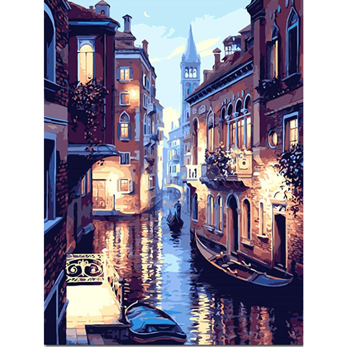 Paint by Numbers Venice Framed Canvas Photo of Canals at Night in Venezia Italy