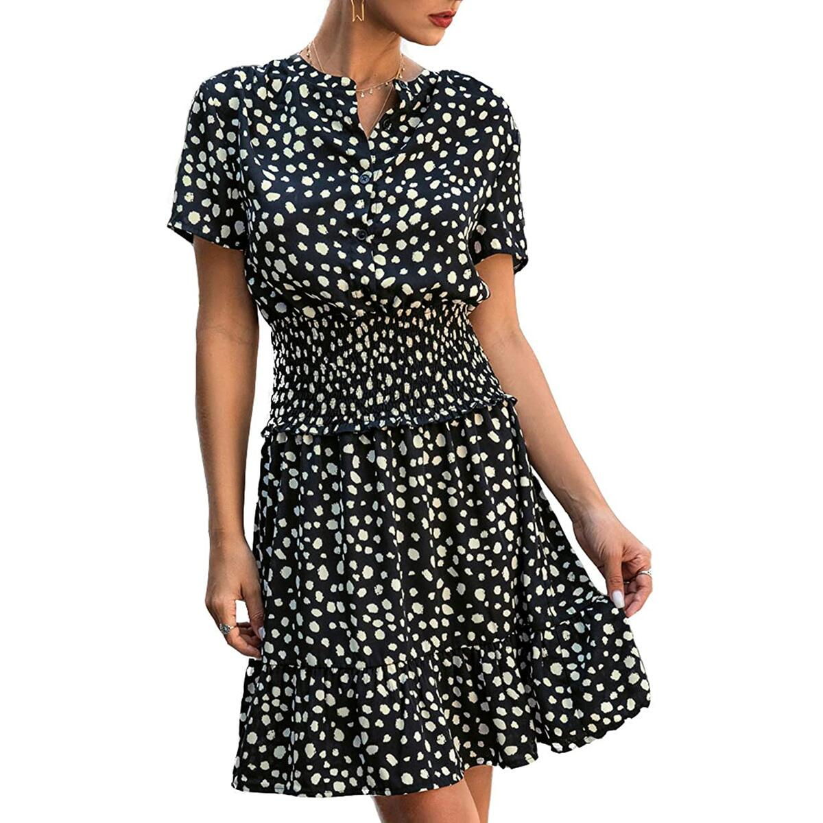 Women's Summer Polka Dot Ruffle Short Sleeve Dress Casual Mini Dress All Colors