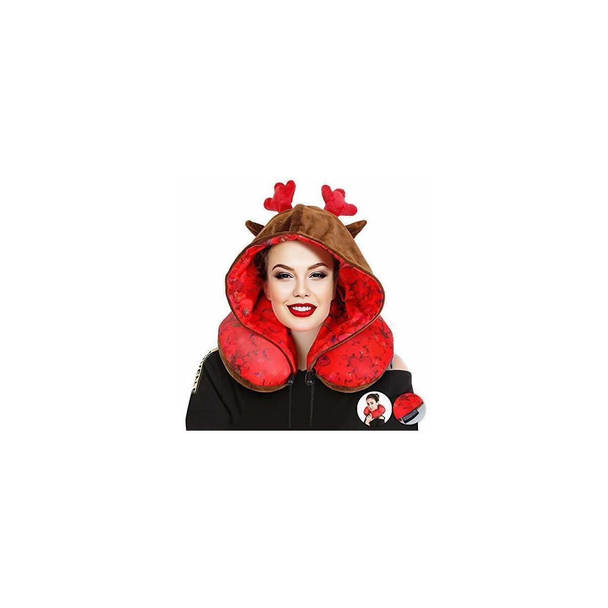 Travel Neck Pillow With Hood- Reindeer