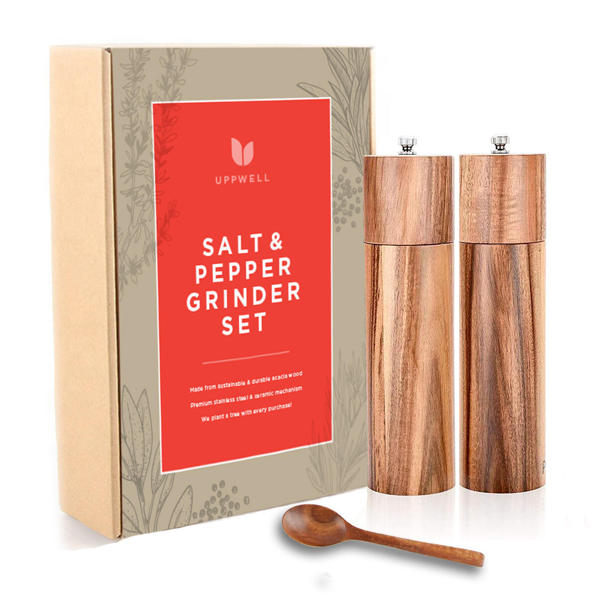 Salt and Pepper Grinders Refillable Set, Stylish and Sustainable, Beautiful Gift Box, Premium Materials with Bonus Acacia Spoon, We Plant A Tree With Every Purchase!