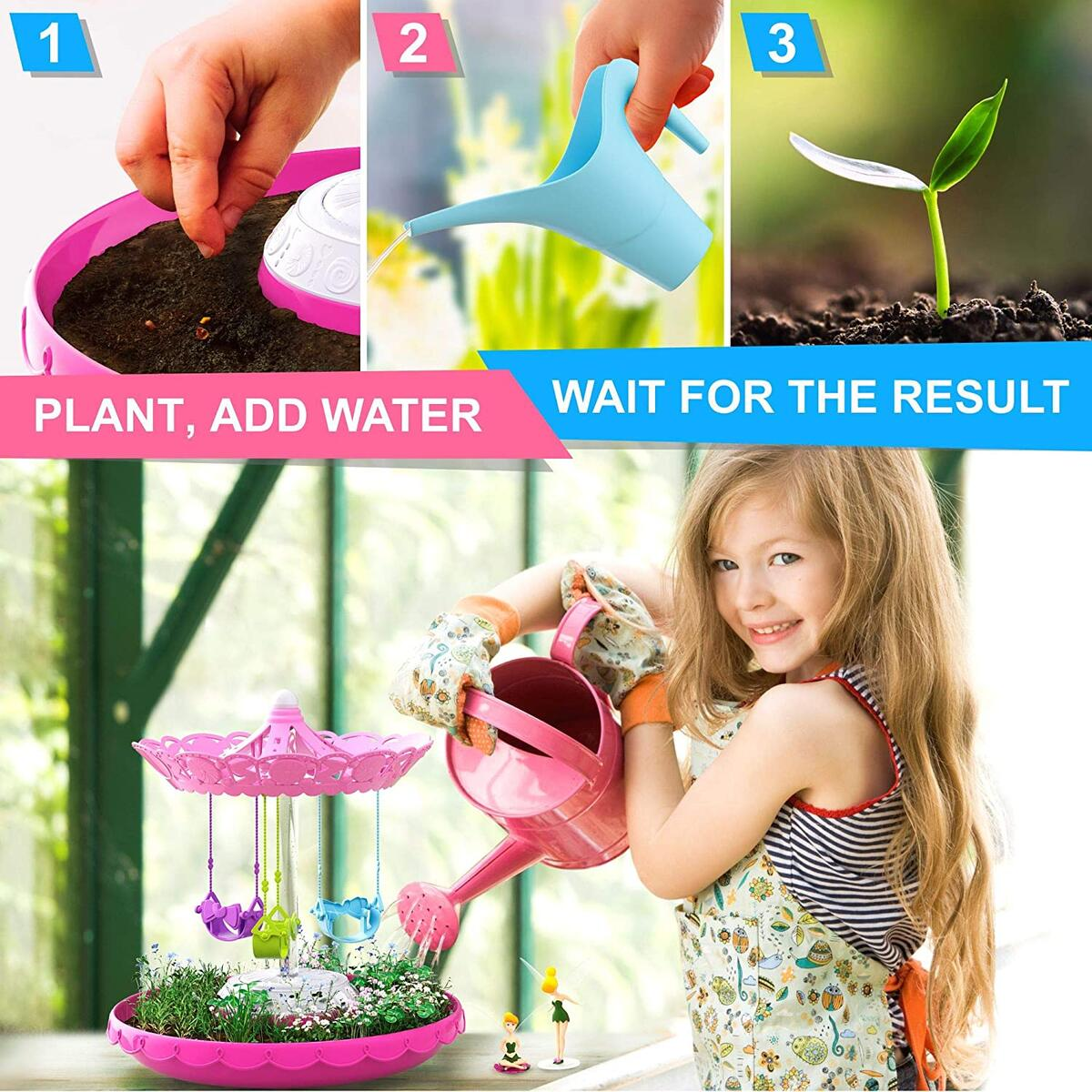 Fairy Garden Kit for Kids with Fairies - Grow Your Own First Magic Garden Indoor & Outdoor - Gardening DIY Planting Set with Fairy Toys for Girls 3 - 8 Years Old - Plant Activity Gift Kit with Seeds