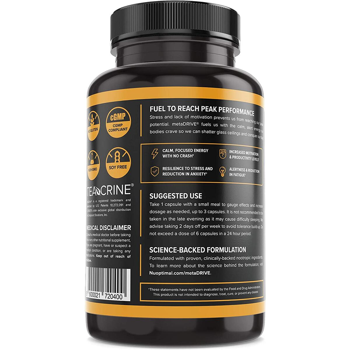 Premium Nootropic Brain Booster Supplement for Energy, Focus, & Motivation - 8 Cognitive Enhancing Ingredients Including Theobromine, L Tyrosine, TeaCrine®, & Rhodiola Rosea…