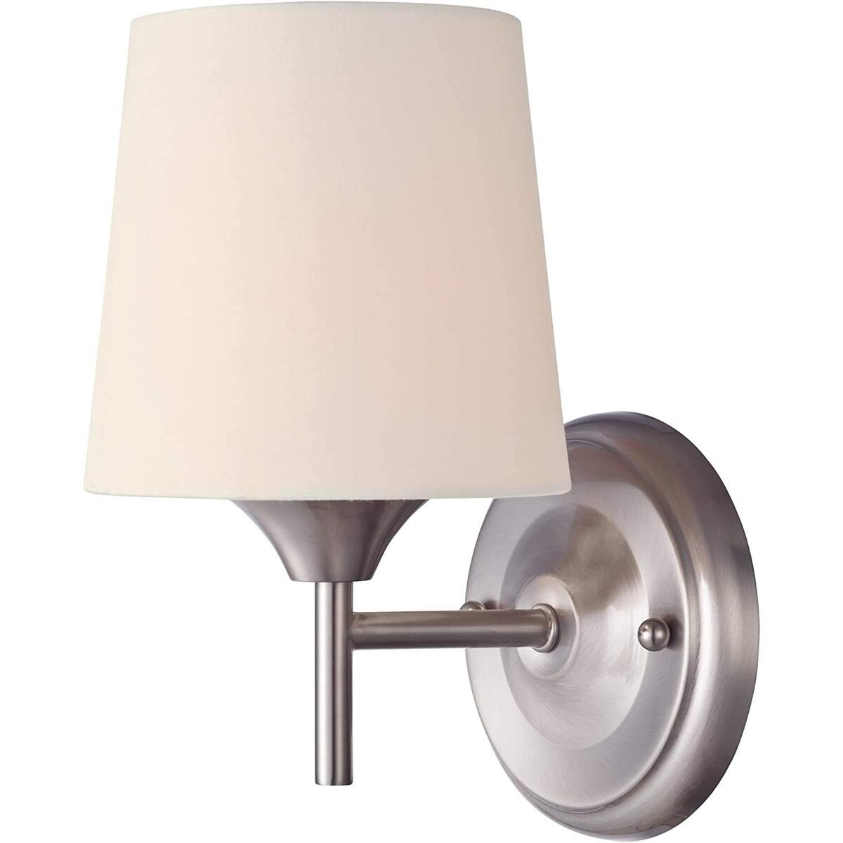 1 Light Wall Fixture in Brushed Nickel Finish with White Linen Fabric Shade (1 Light Wall Fixture)