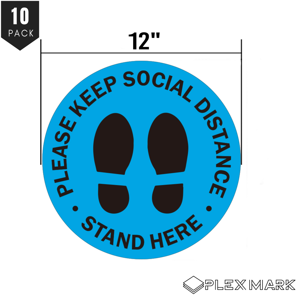 PlexMark - Social Distancing Floor Decals 12 inches Bulk 10-Pack and Scraper Tool Round Markers Waterproof Tear Proof Safety Signs Perfect for Businesses Easy Peel Off Crowd Control 6 ft Apart (BLUE COLOR ONLY)