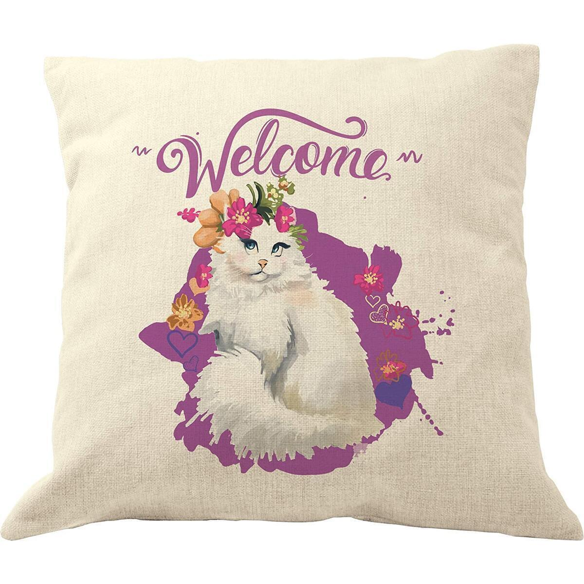 """DrupsCo - 18""""x18"""" White Cat Pillow Covers, Decorative Throw Pillows for Cat Lovers Made from Cotton Linen - Kitty Pillow Covers, Cat Decor Couch Pillows Cover"""