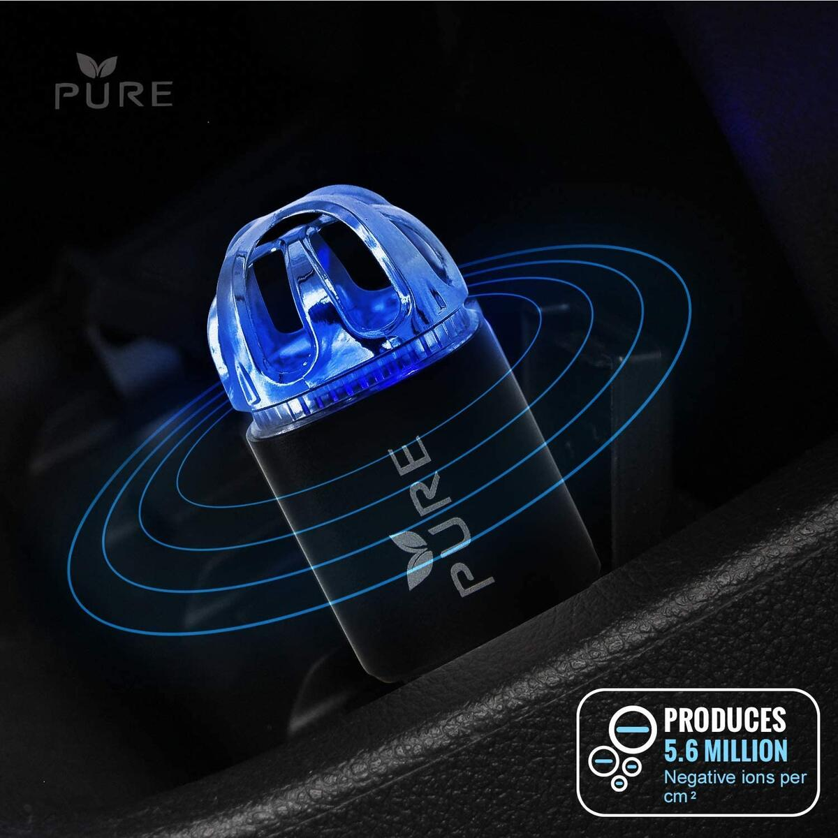 PURE Car Air Purifier Premium Air Ionizer & Car Charger Accessory w/Dual USB Ports - Quick Charge 3.0 - Eliminate Allergens Bad Odor Pet Smell Smoke Pollen Mold Bacteria Viruses PM2.5 & VOCs Deodorizer