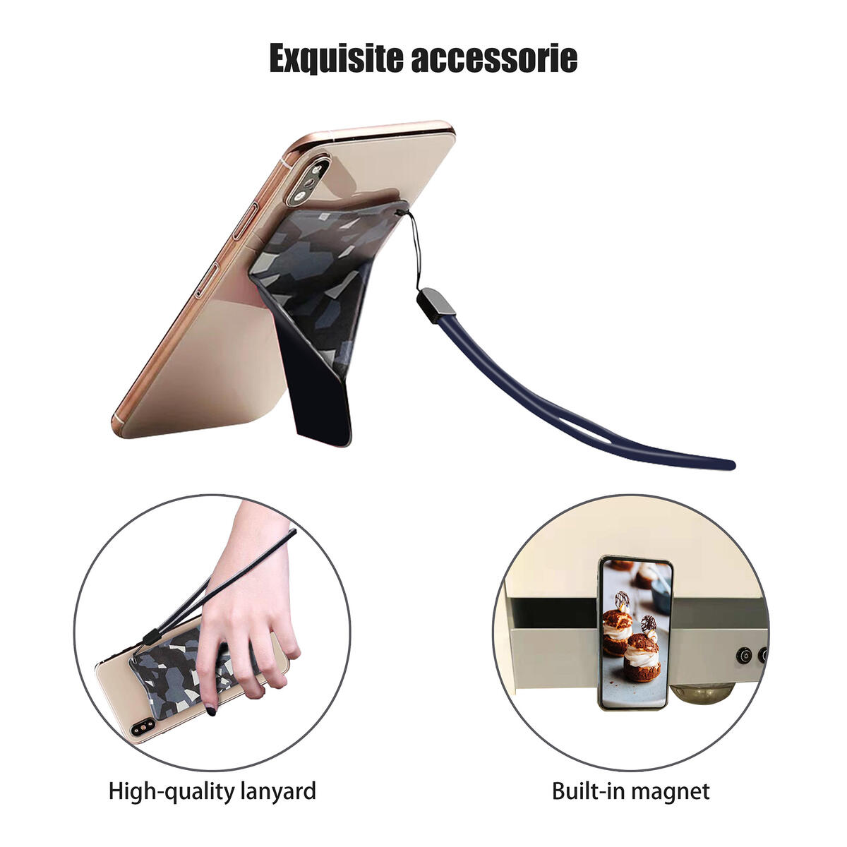 Universal Minimalist Invisible Stand/Holder/Bracket for Phone,Handle/Grip/Strap/Lanyard/Kickstand/Foldable/Magnet/Pocket/Ultrathin/Cell/Smart/iPhone/Android/iPad/Adhesive/Back/Sticker(Navy Camouflage)