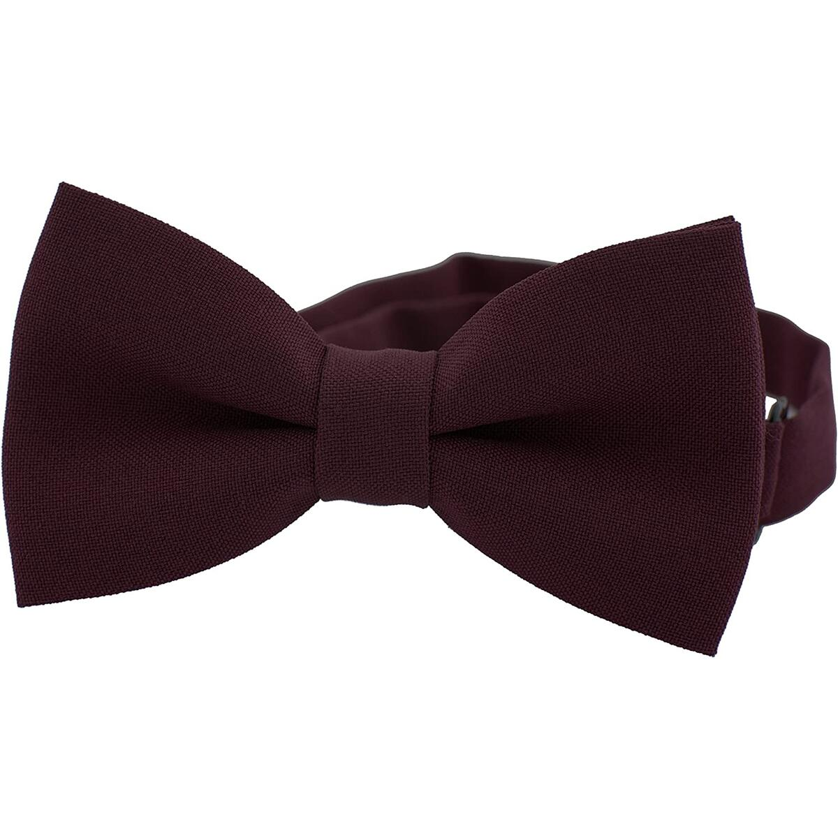 Classic Pre-Tied Bow Tie Formal Solid Tuxedo, by Bow Tie House (Small, Marsala)