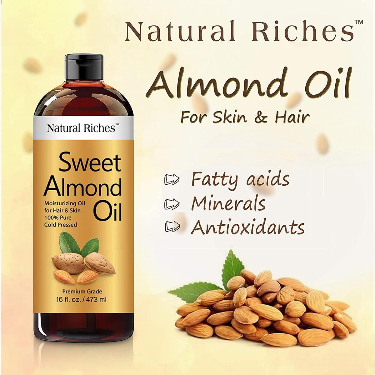 Natural Riches Sweet Almond Oil Cold Pressed, Triple A Grade 100% Pure and Natural Hexane free Soothing Vitamin E Oil for Skin & Face, Facial Polish, Full Body, Massages, DIY Base (Almonds Grown in USA.)…