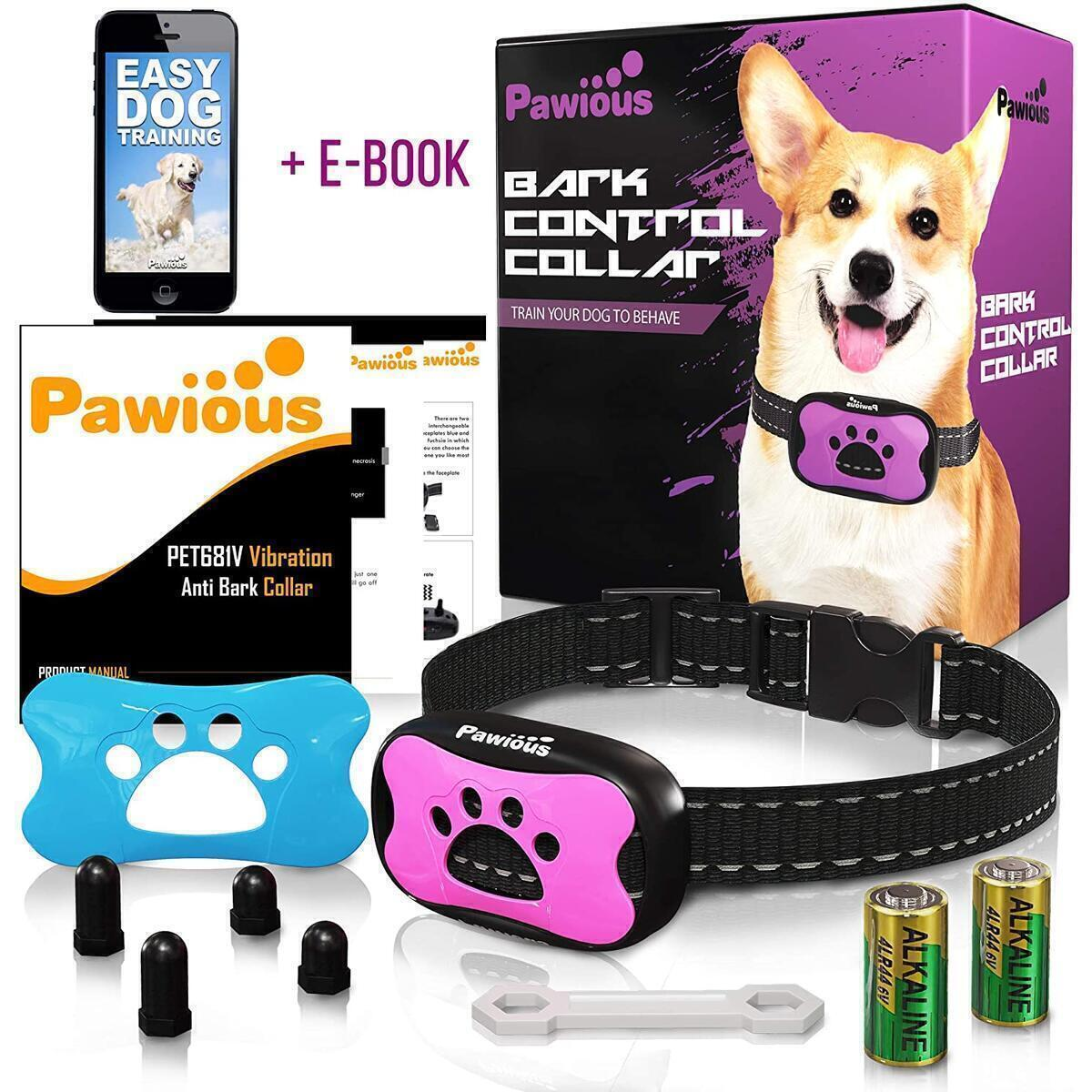 Pawious Bark Collar for Dogs [Only fuchsia color variation] - Humane No Shock, Anti Barking Collar, Sound and Vibration, 7 Sensitivity Levels - for Small Medium and Large Dogs