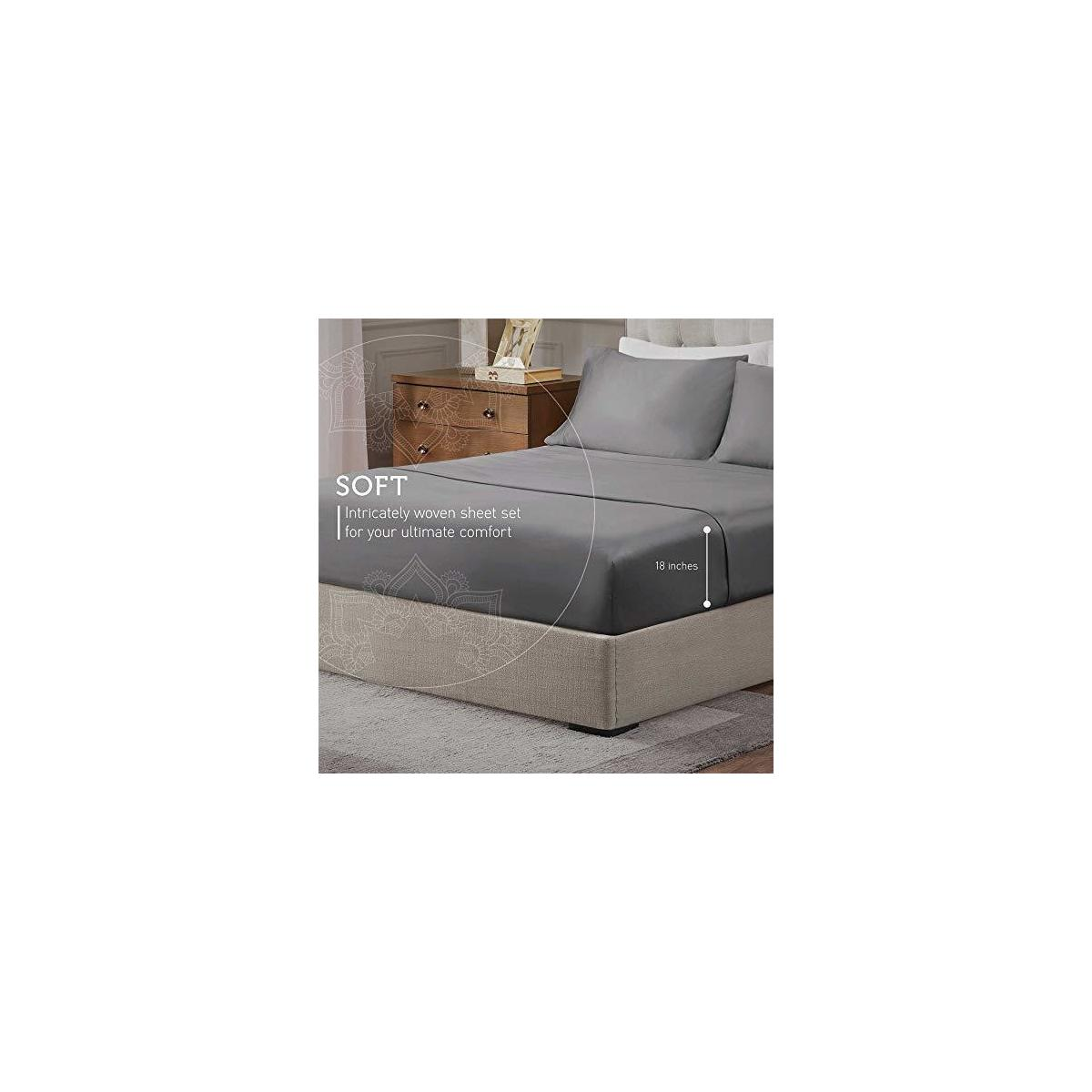 """QUEEN SIZE GREY COLOR ONLY Hyde Lane 1000TC Organic Cotton Queen Bed Sheets Set 