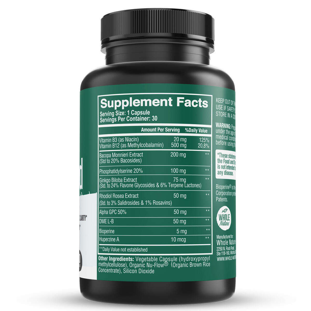 Brain Booster Nootropics Supplement - Brain Shield with Ginkgo Biloba, Alpha GPC and Bacopa Monnieri, for Energy, Anxiety & Stress Relief - Boost Focus, Enhance Memory & Clarity, for Men & Women