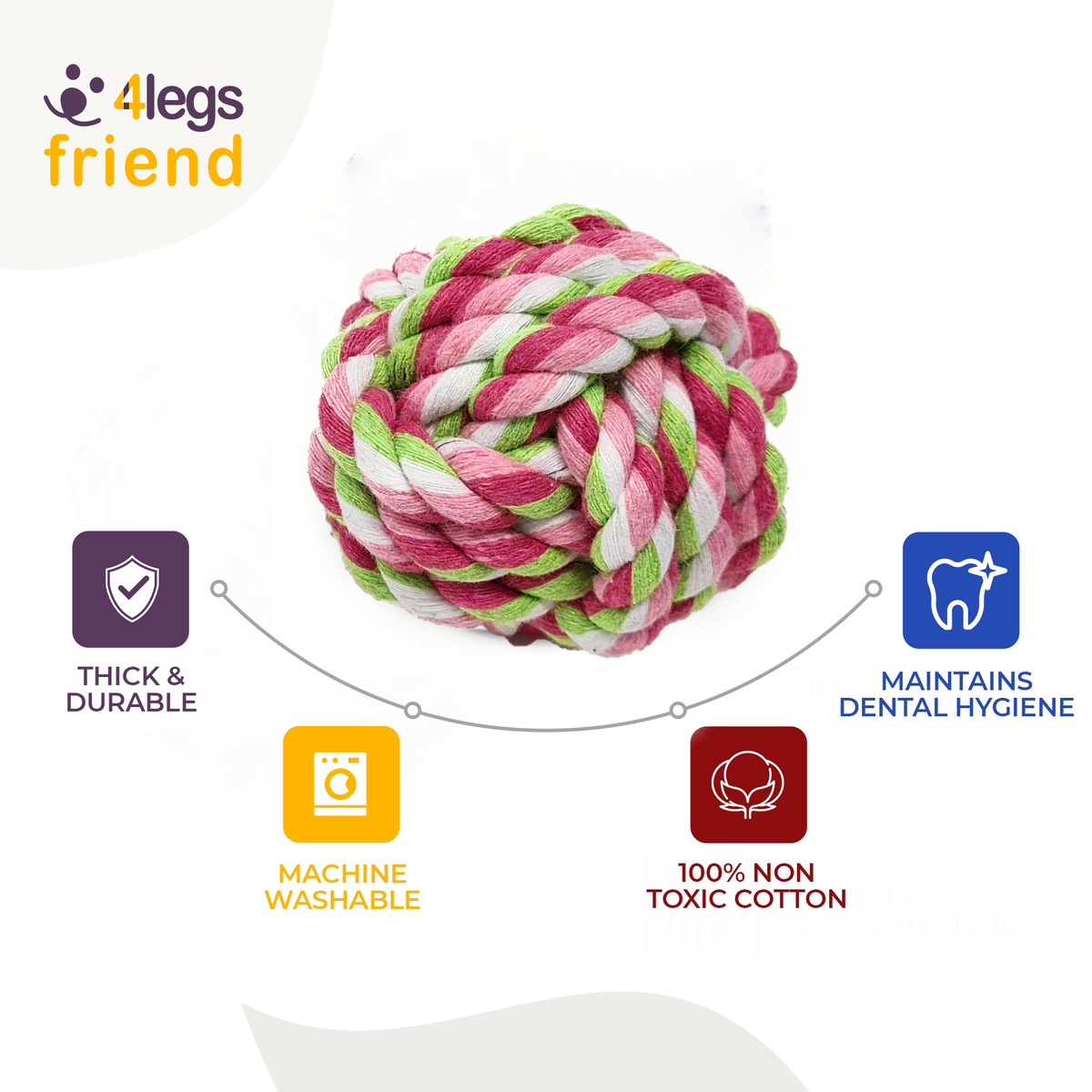 4LegsFriend Dog Puppy Pet Cotton Rope Toys for Small to Medium Dogs. Machine Washable Dental Floss Toys - (Set of 6 Toys)