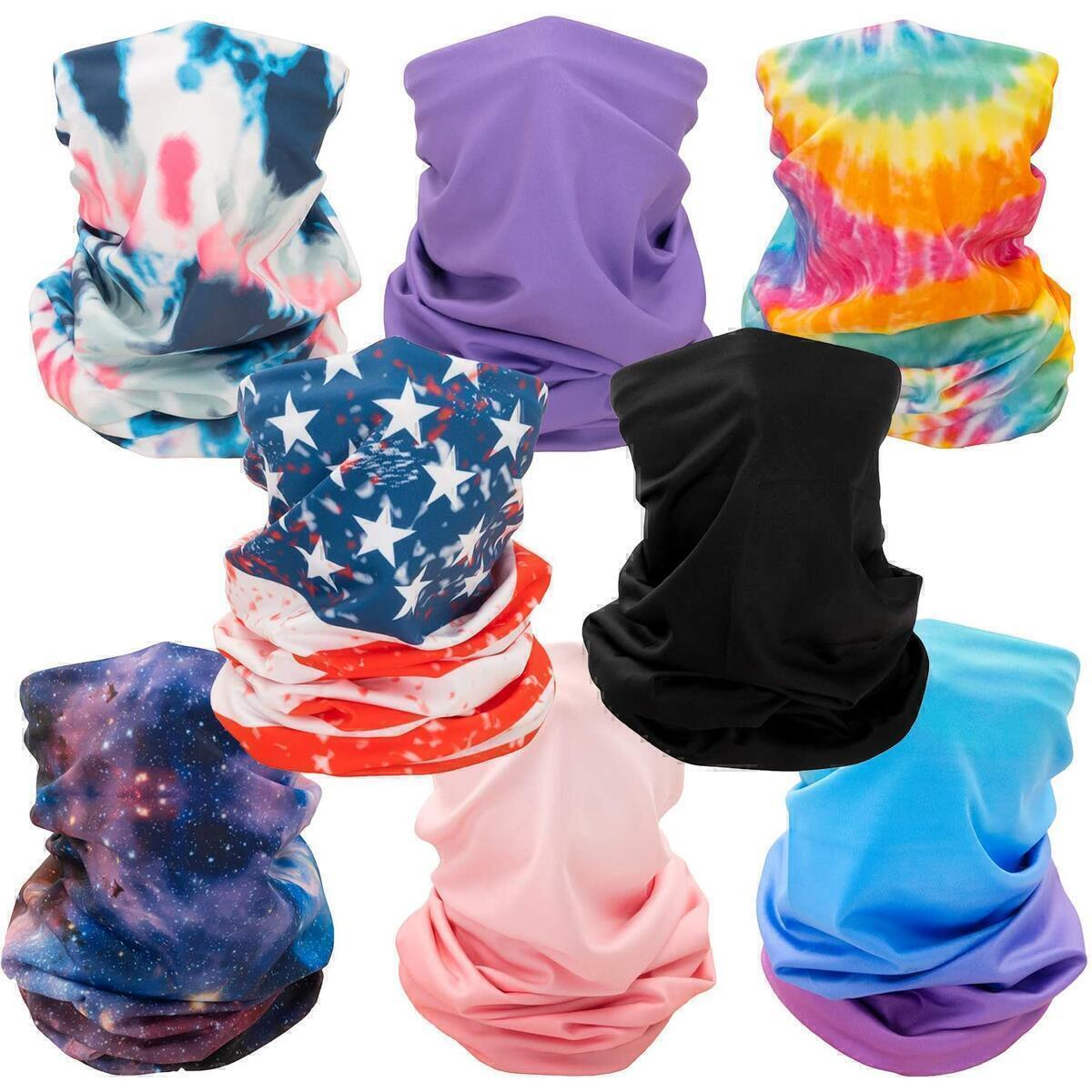 CK Formula Neck Gaiter Mask - Multifunctional and Breathable Cooling Face Bandana with Seamless Microfiber and UV Protection for Outdoor Use Reusable/Machine Washable (Pack of 8)