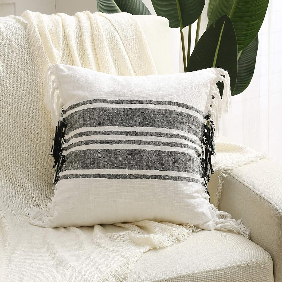 Black white double-sided farmhouse pillow cover