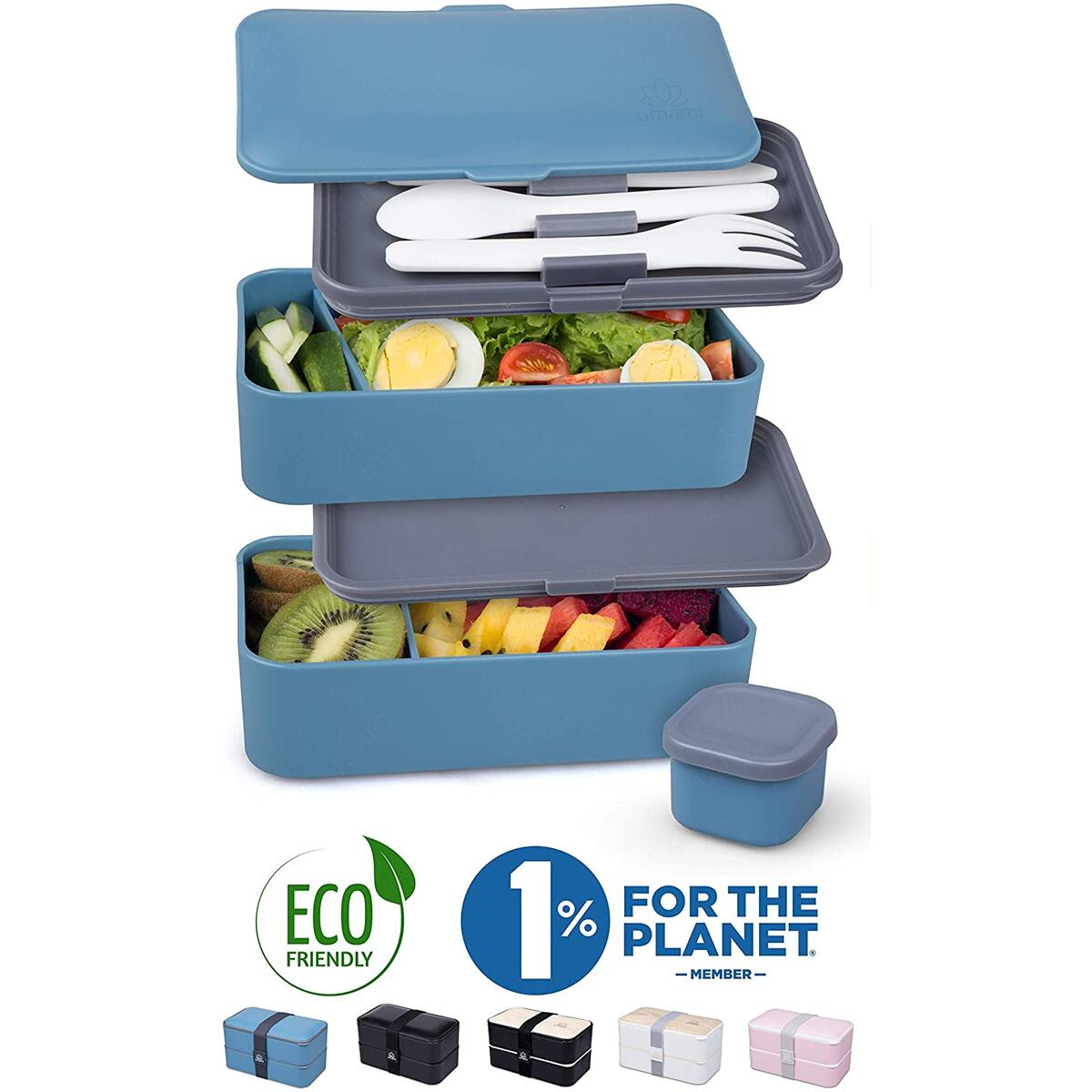 UMAMI Premium Bento Lunch Box For Adults/Children - Includes 1 Sauce Pot & Cutlery 3 Pieces - Japanese Hermetic Box - 2 Compartments - Micro-Waves & Dishwasher & Freezer - BPA Free - Zero Waste