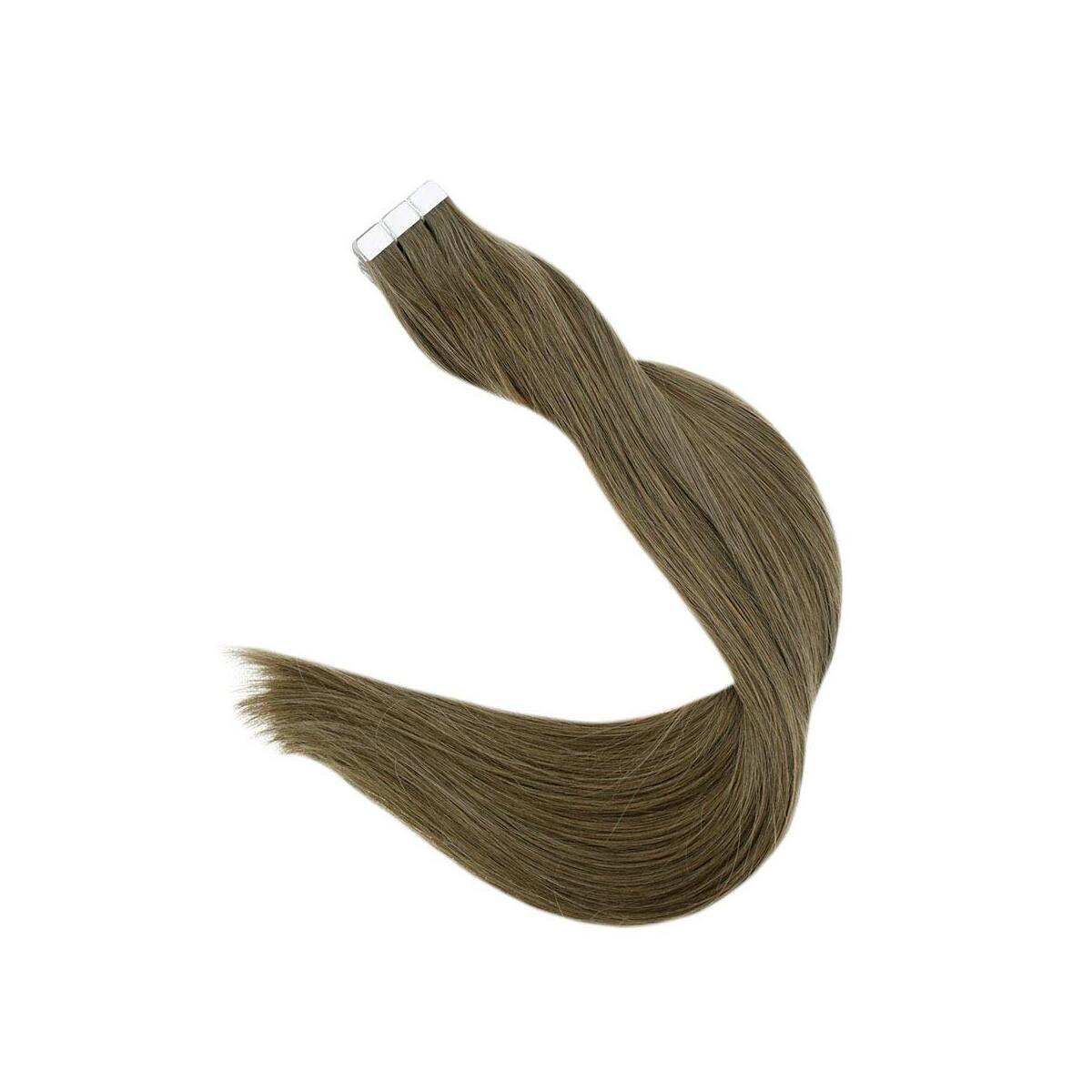 Tape in Hair Extensions Human Hair Light Brown Hair Extensions 14 Inches 40g Single Sided Tape in Extensions