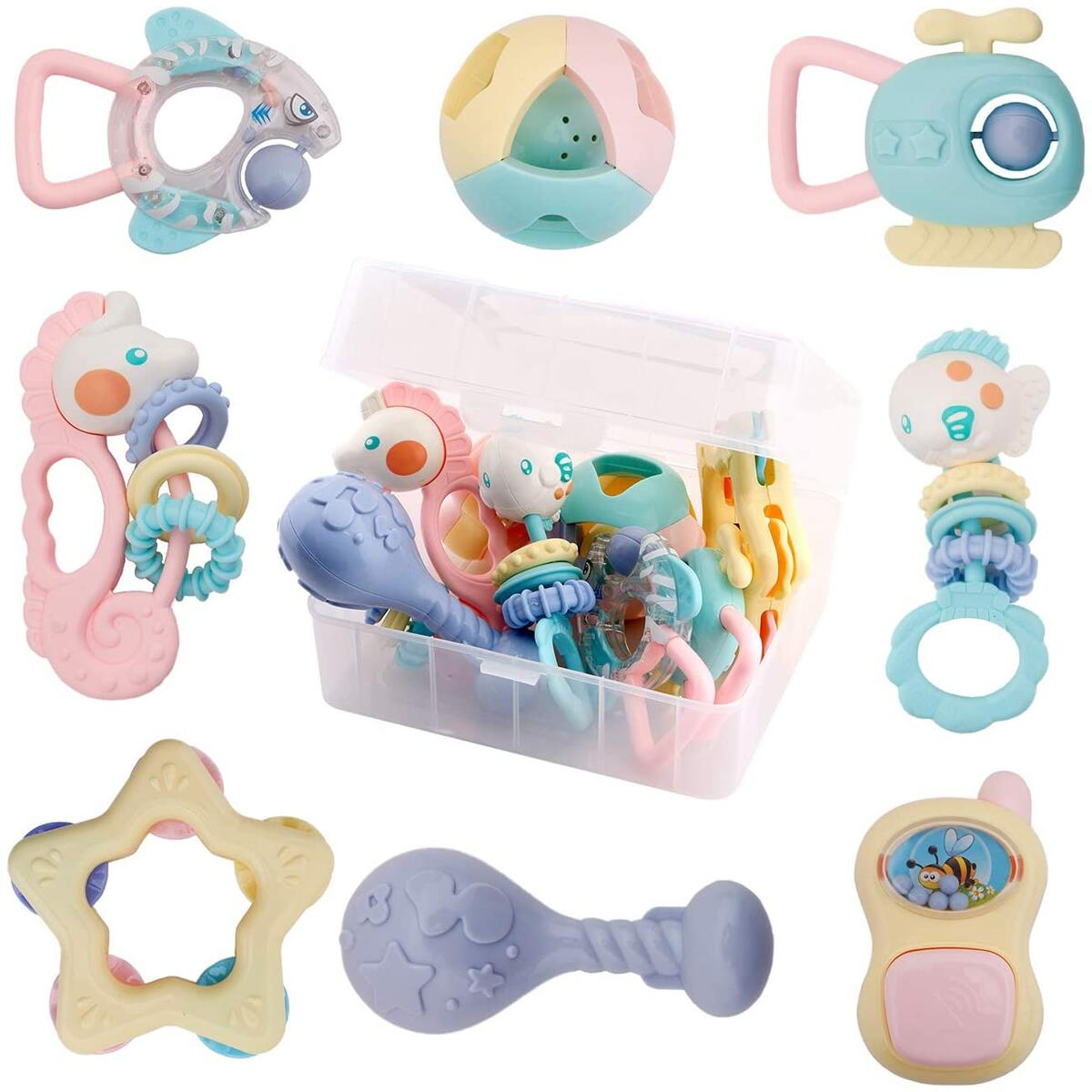 WISHTIME Baby Rattles Teether Baby Toys - 8 Pcs Shaker, Grab and Spin Rattle, Musical Toy Set, Early Educational Toys for Baby Infant, Newborn