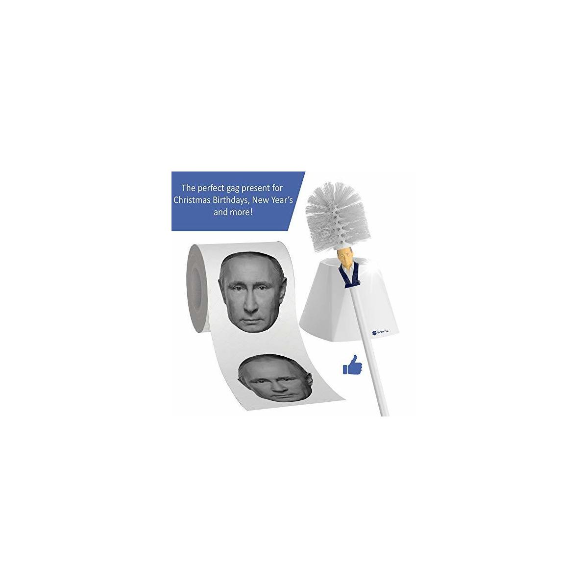 Gag Gifts - Putin Toilet Brush and Putin Toilet Paper, White Elephant Funny Gifts for Adults with Russian President Vladimir Putin's Face, Novelty Bathroom Decor Set…