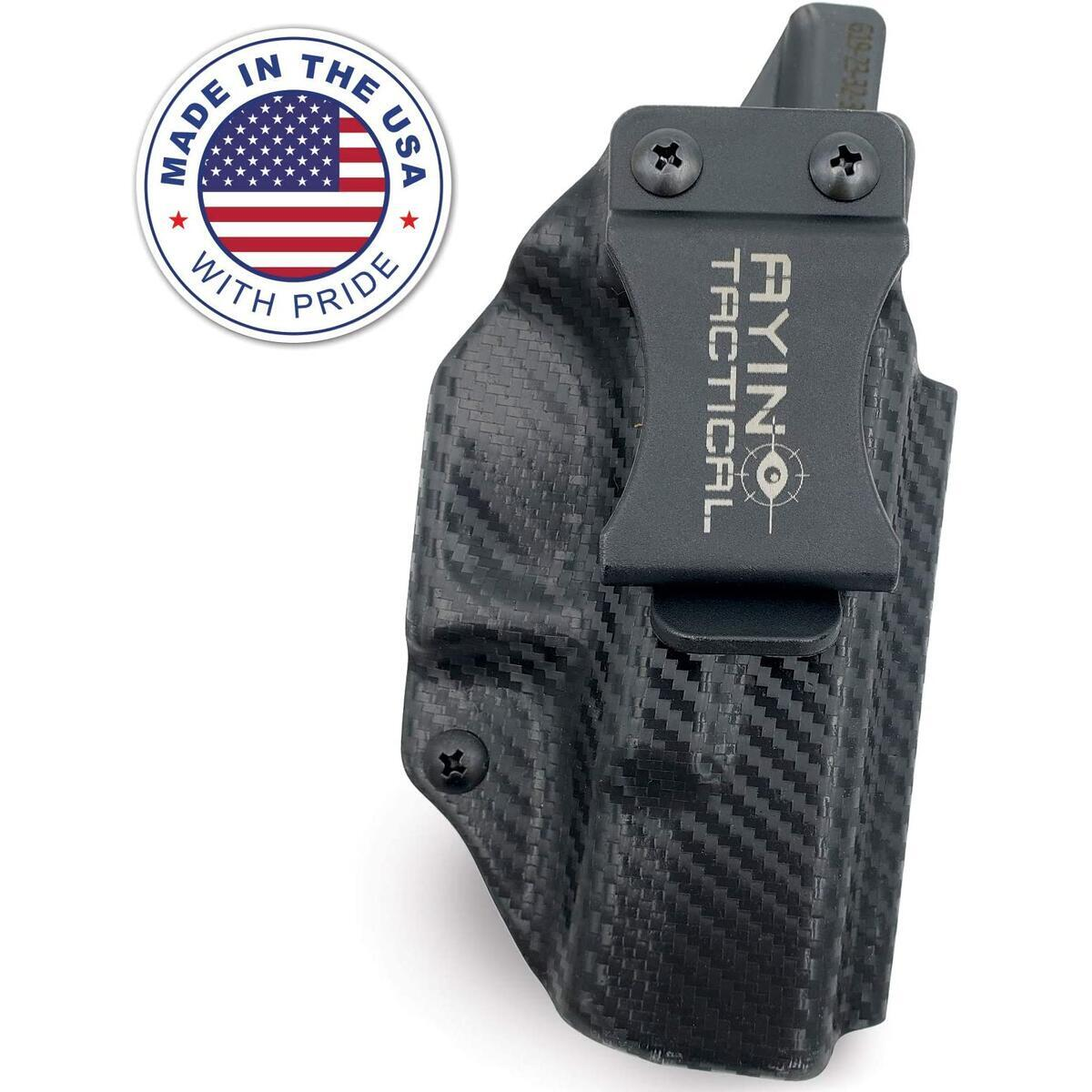 AYIN Concealed Carry IWB OWB Right-Handed Holster for Glock 19/23/32/36/45, Can Be Used Inside The Waistband or Outside The Waistband, Optics Cut, Positive Adjustable Retention, Made in USA