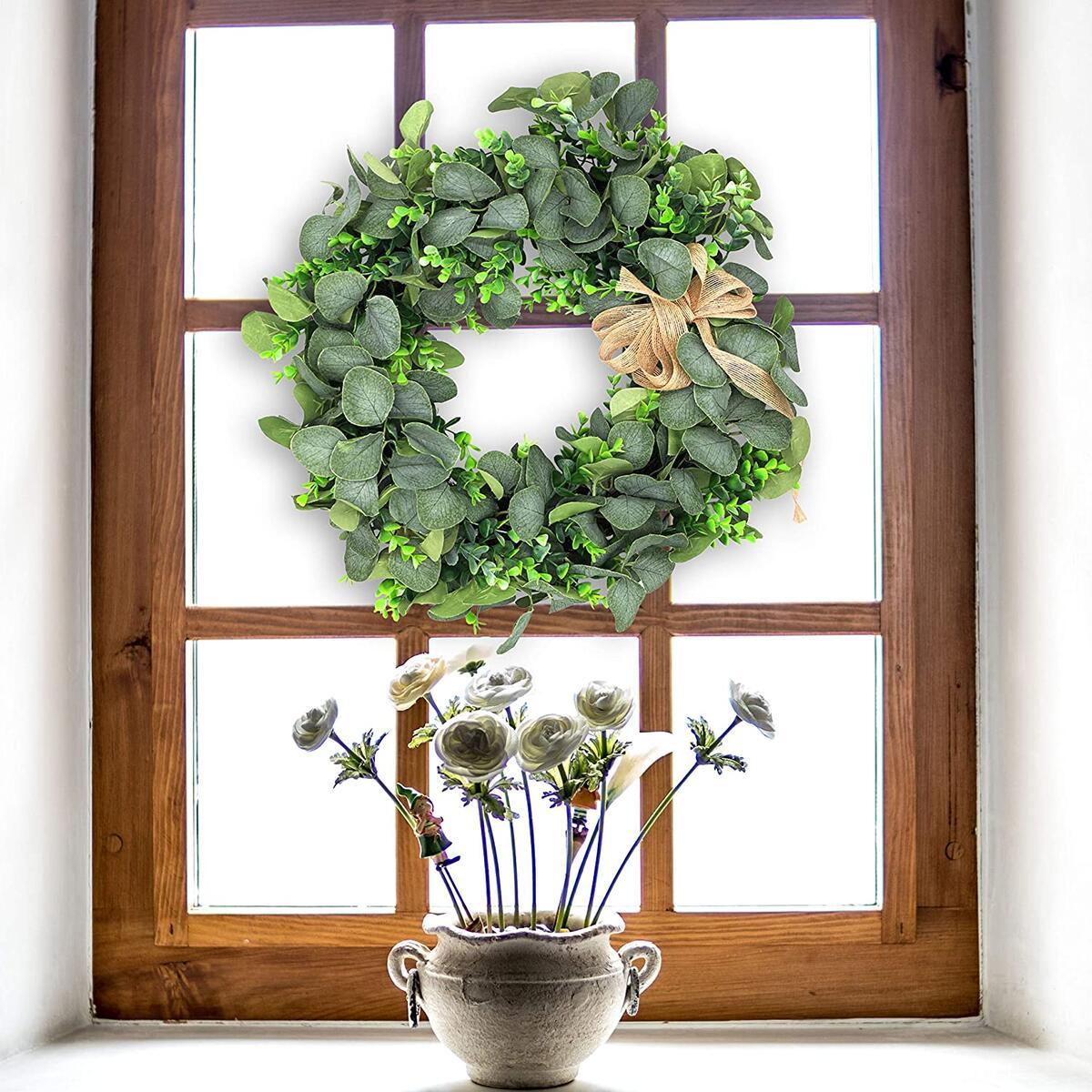 Eucalyptus Wreath, Summer Wreaths for Front Door, Front Door Decor, Wreaths for Front Door, Greenery Wreath 20 Inches