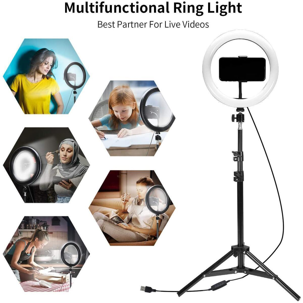 Flying Banana 10 inch Selfie Ring Light With Tripod Stand and Phone Holder & Remote Control 3 Light Modes For YouTube Videos/Makeup Light/Live Streaming/Vlog Compatible For iPhone & Android Phone