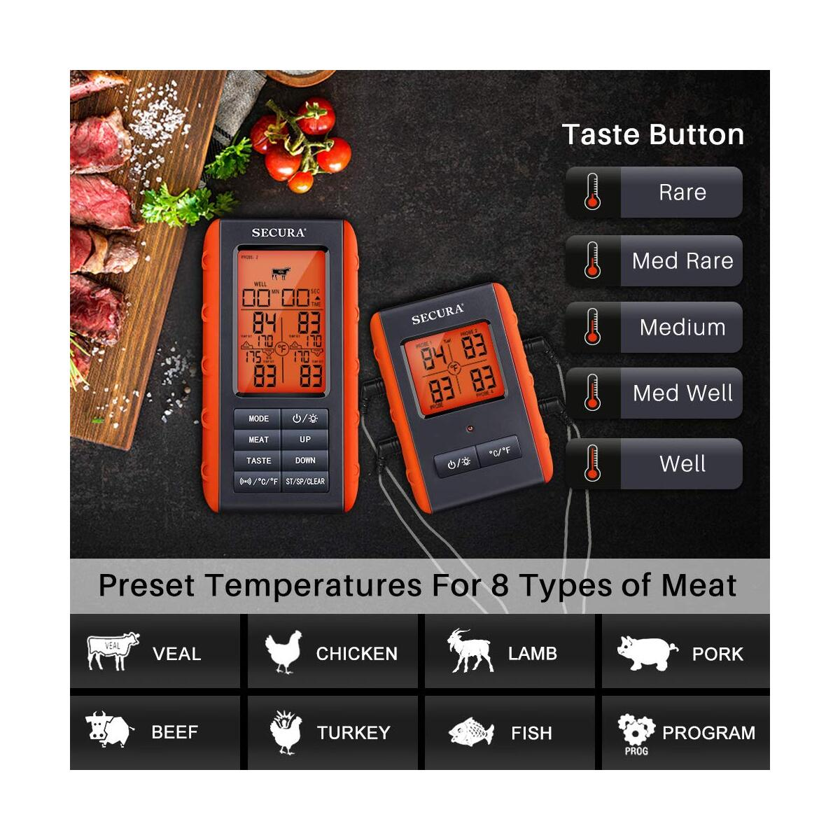 Secura Wireless Remote Meat Thermometer for Grilling w/4 Probes