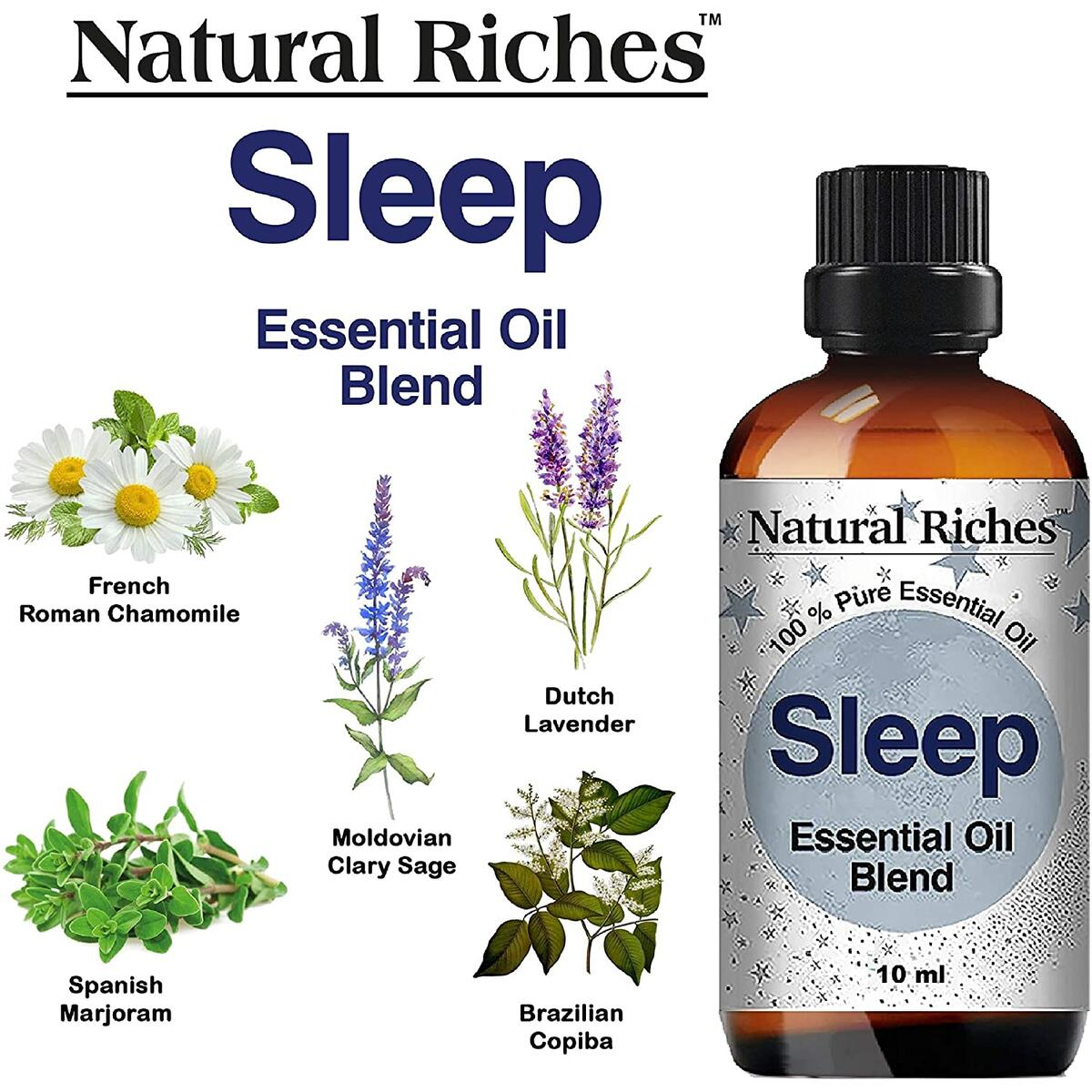 Natural Riches Tranquility Serenity Essential Oil Blends Set with Sleep, Stress Relief and Head Easy Essential Oils 3 x 10 ml…