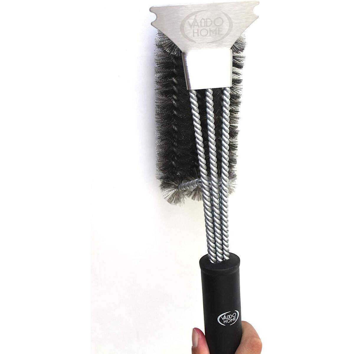 Heavy Duty BBQ Grill Stainless Steel Cleaning Brush with Built in Scraper