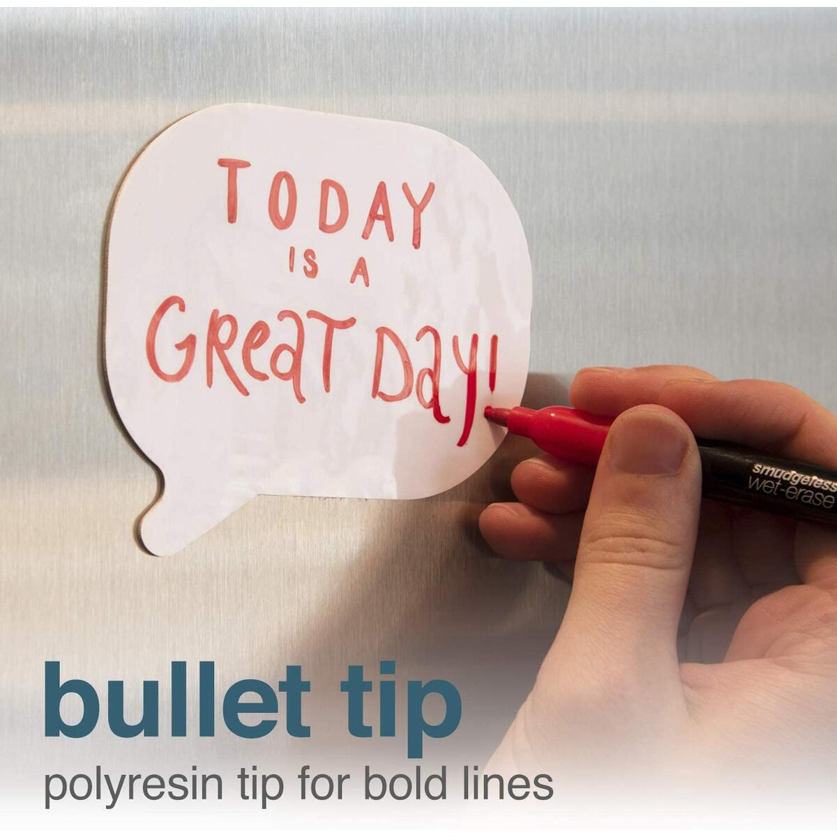 Tackie Markers Bullet Tip 6-Pack: Smudge-Free Markers for Dry-Erase Whiteboards.