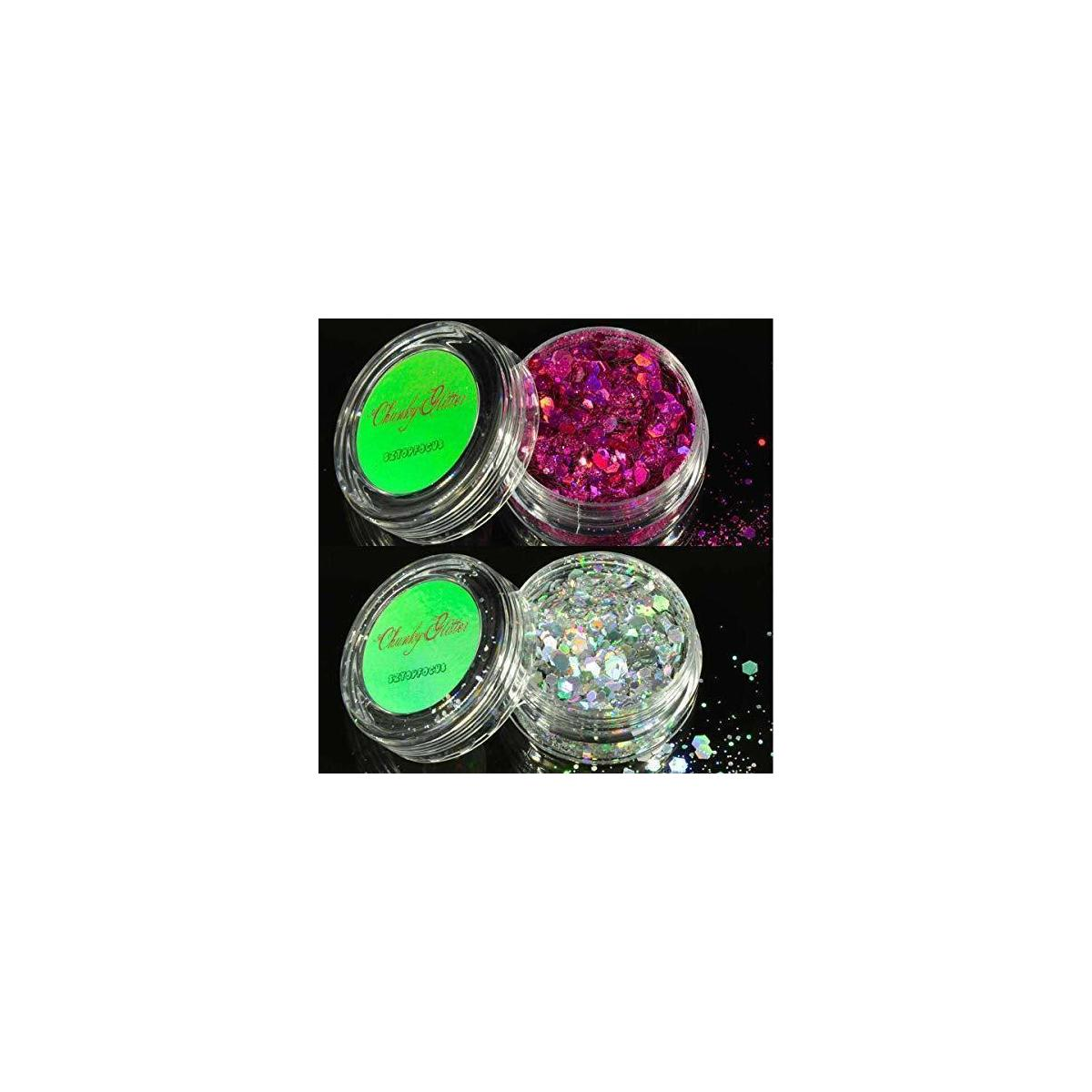 Holographic Chunky Glitters With Face Sticker Jewels Rhinestones Gems Set (GS-04)