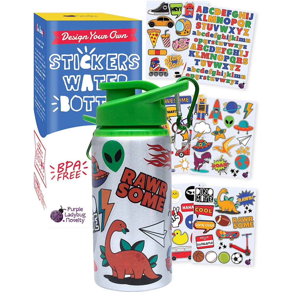 Purple Ladybug Decorate Your Own Water Bottle for Boys with Tons of Fun On-Trend Stickers! BPA Free Kids Water Bottle Craft Kit - Cool and Creative Boy Gift Idea, Fun DIY Kids Arts & Crafts Activity