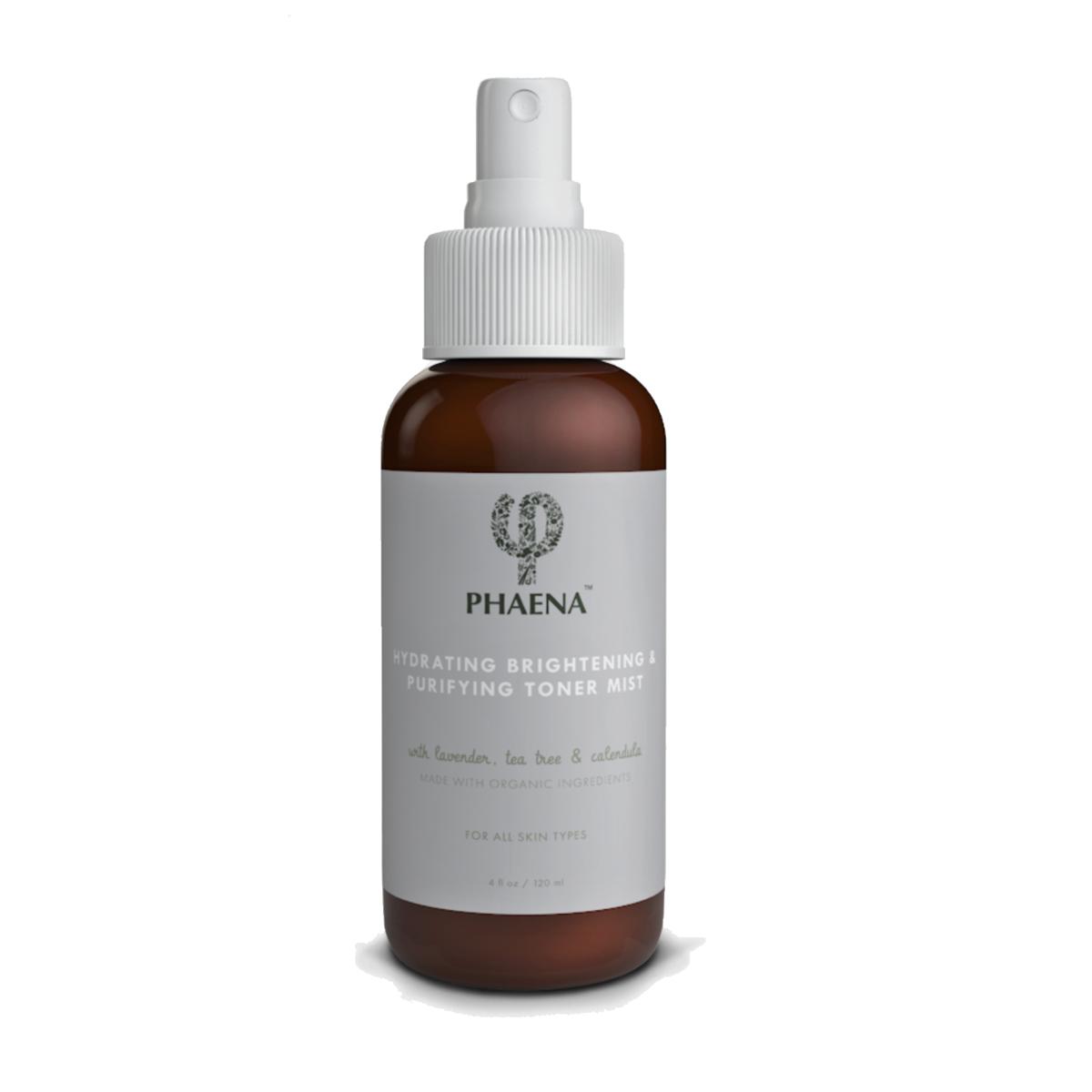 Phaena Hydrating Brightening & Purifying Toner Mist - with Lavender, Tea Tree & Calendula   Alcohol-Free   Made with Organic Ingredients   Antioxidants - 4.0 oz Spray Bottle