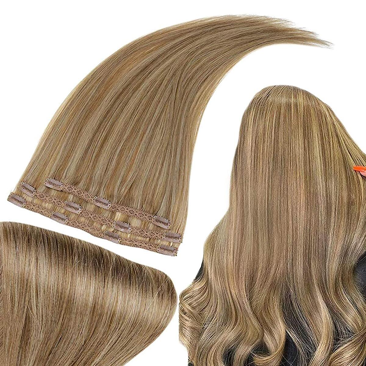 Clip in Hair Extensions 10 Inch Real Hair Extensions Golden Brown Highlighted Golden Blonde 3 Pieces 50g Human Hair Clip in Extensions…