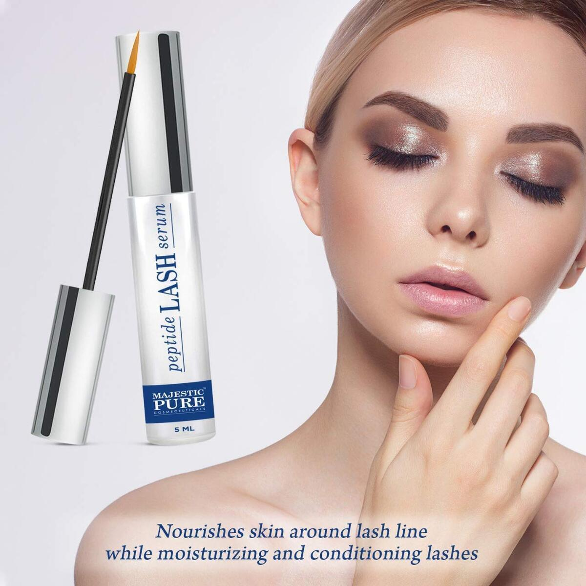 Eyelash Growth Serum for Lashes and Eyebrows by Majestic Pure - Revolutionary Peptide-based Eyelash Serum Supports Long and Thicker Lashes and Brows - Moisturizes and Conditions Eyelashes - 5 ml