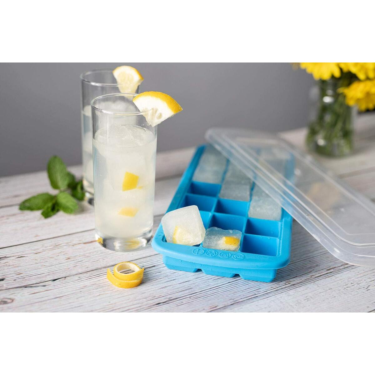 Silicone Small 1.3 Inch Ice Cube Trays with Easy Release, Stackable Lids, Great for Cocktails, Whiskey & Bourbon, BPA Free, Set of Two Makes 42 Total