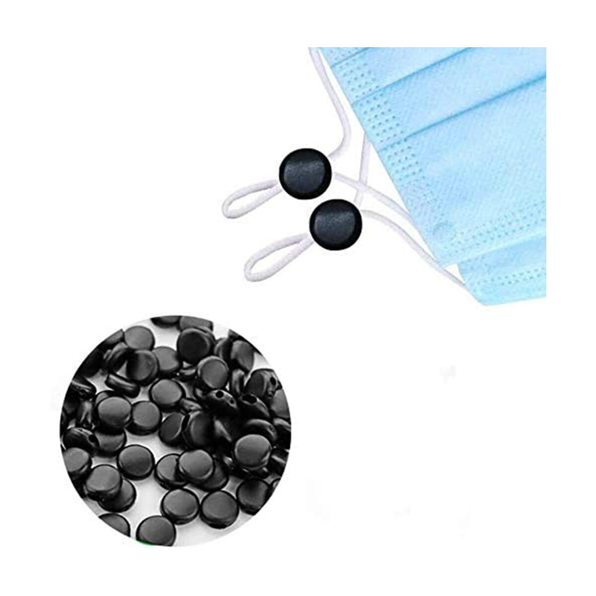 ARGIGU 110 Yards 5mm Black Elastic Strings for Masks Making Braided Elastic Roll Bands for Sewing with100pcs Nose Bridge Strip and 20 pcs Cord Locks