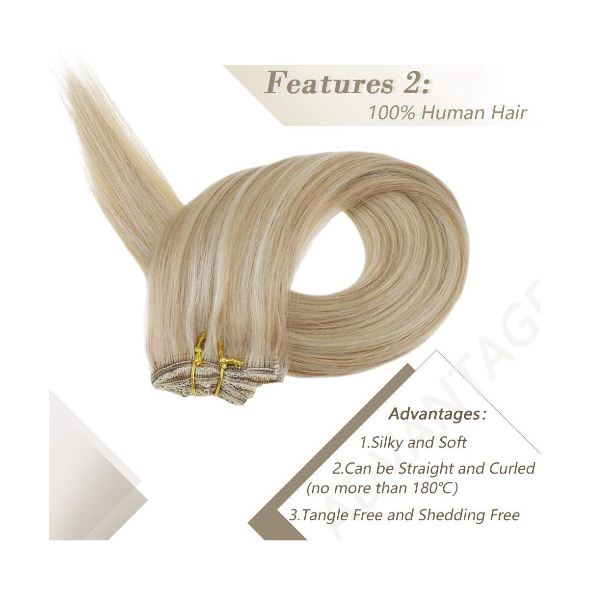 RUNATURE Clip in Hair Extensions 10 Inches Color 12P60 Dirty Blonde Highlighted Platinum Blonde 50g 3 Pieces Human Hair Clip in Extensions