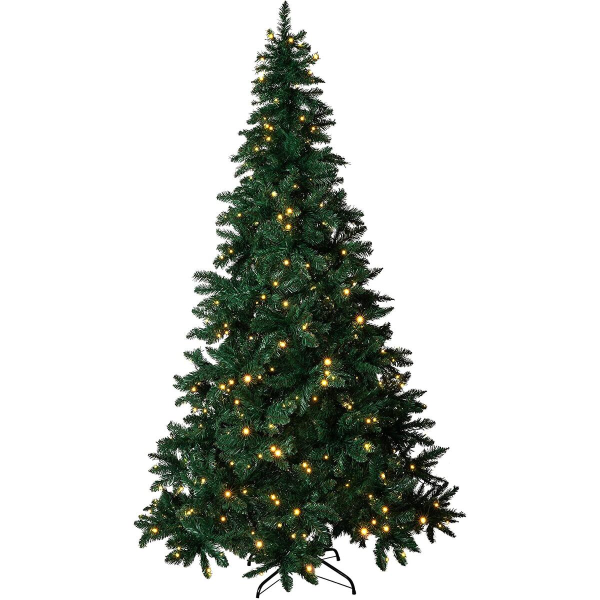 Amazing Seasons 7.5 ft Pre-Lit Christmas Tree   Pre-Strung with 480 LED Multi-Color and Warm White Christmas Lights   6 Functions with Foot Switch   Artificial Pine with Hinged Branches, Green