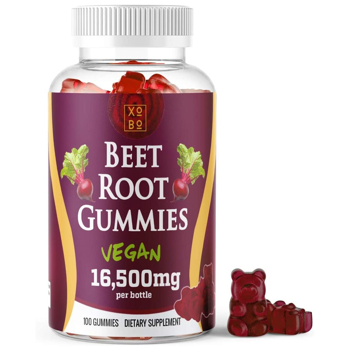 Xobo Beet Root Powder Gummies Supplement, 100 Gummy Soft Chews, Natural and Organic Nitric Oxide Booster Cleanse Promotes Circulation and Digestive Health, Vegan